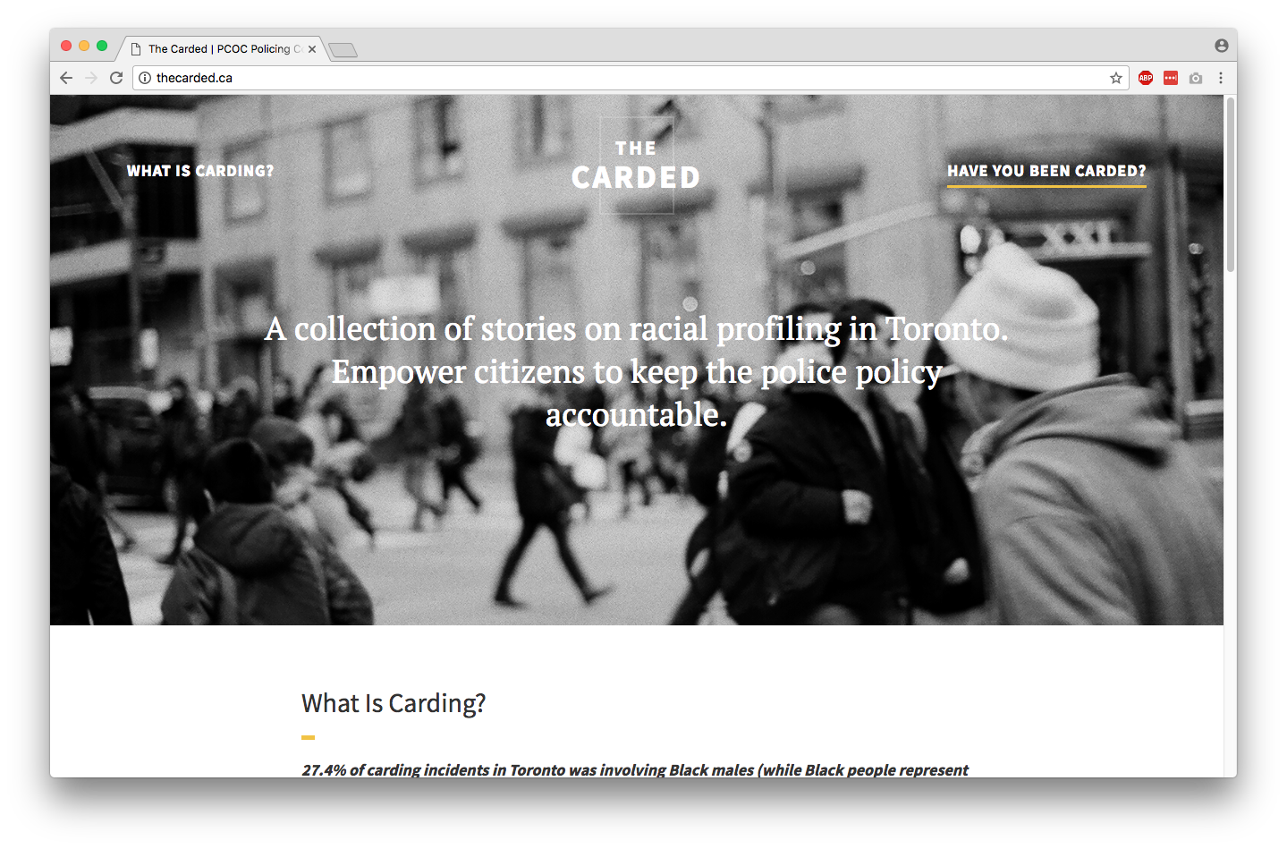 screenshot of first version of The Carded website